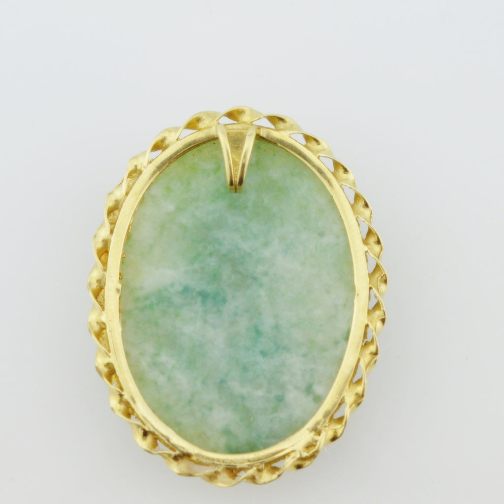 14k Yellow Gold Estate Carved Jade Pendant