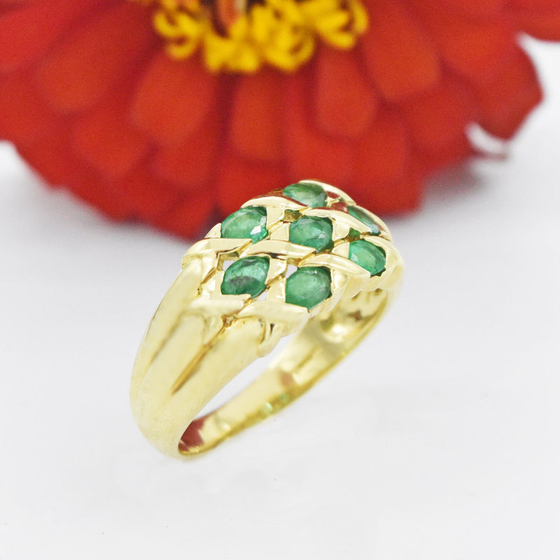 14k Yellow Gold Estate Criss-Cross Emerald Ring Size 10.25