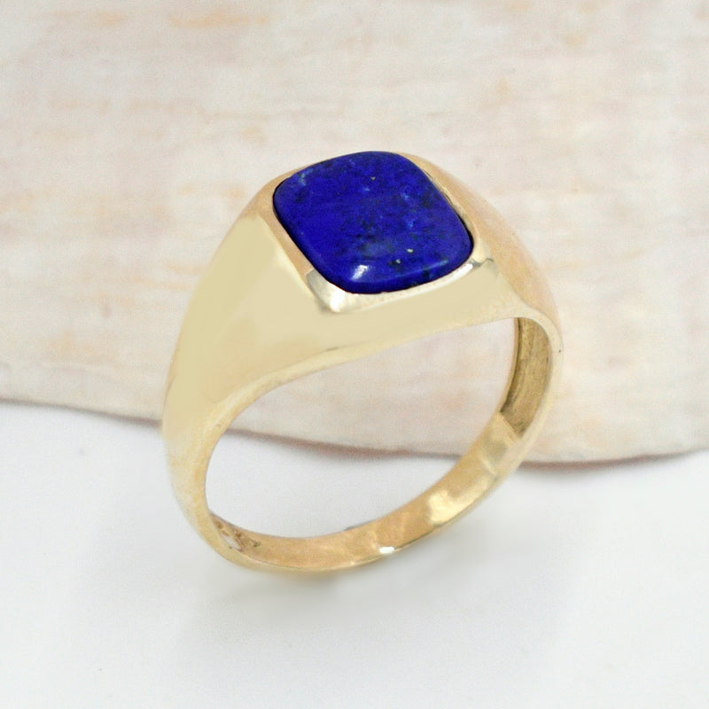 10k Yellow Gold Estate Lapis Gemstone Ring Size 12