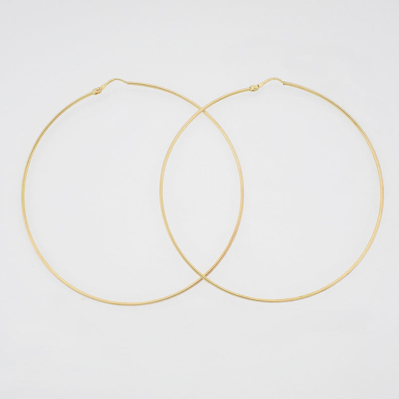 "18k Yellow Gold Estate 3"" Circle Hoop Earrings"