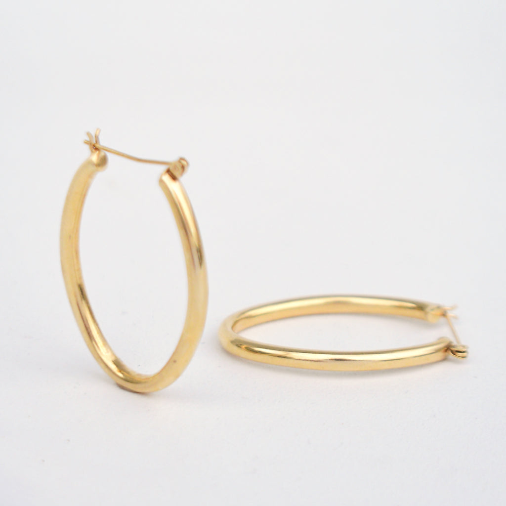 "14k Yellow Gold Estate Oval Hoops/Hoop Earrings 1 5/8"" Long"