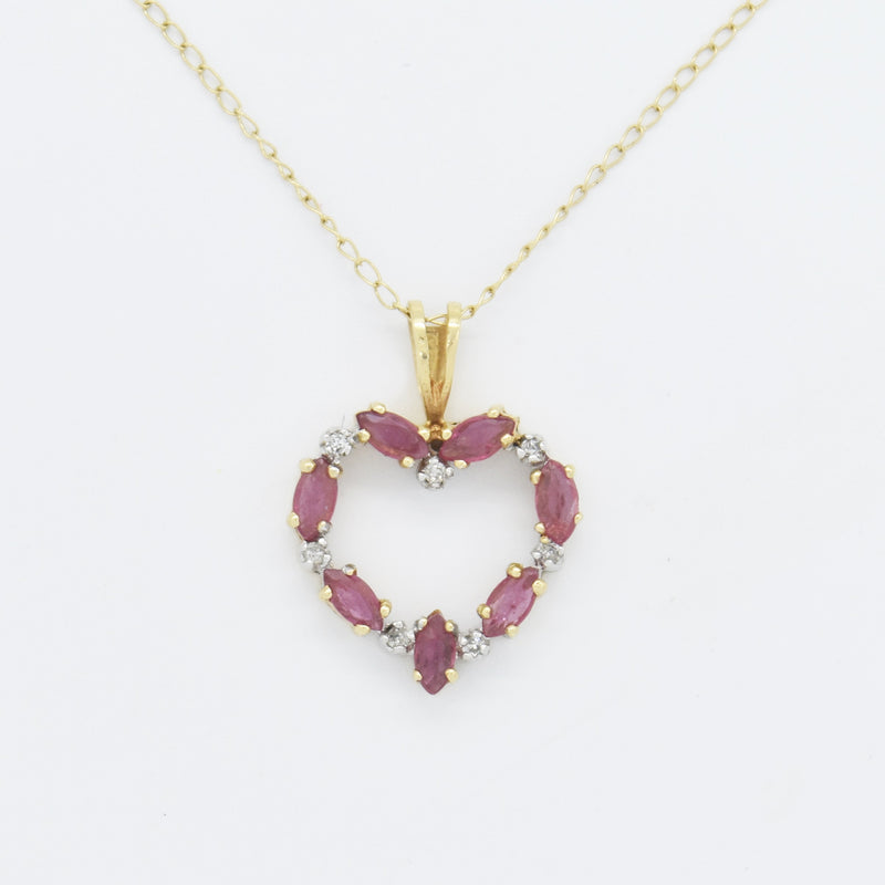 "14k Yellow Gold Estate Open Heart Ruby & Diamond 18"" Necklace"