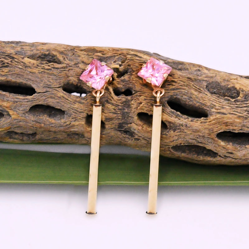 14k Yellow Gold Estate Pink CZ Drop/Dangle Post Earrings