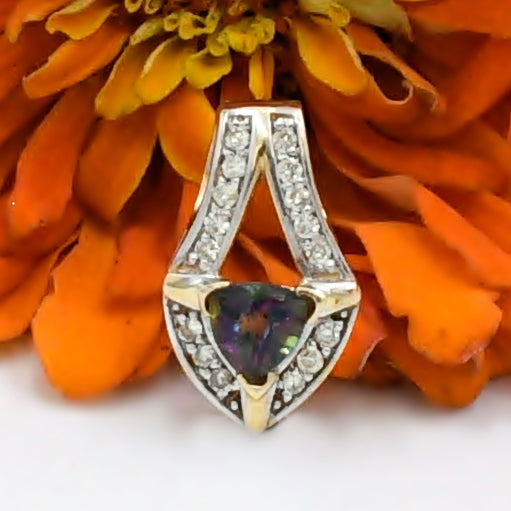 14k Yellow Gold Estate Mystic Topaz & Diamond.32 tcw Pendant