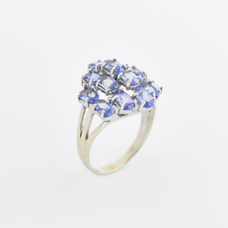 14k White Gold Estate Tanzanite Cluster Ring Size 7.5