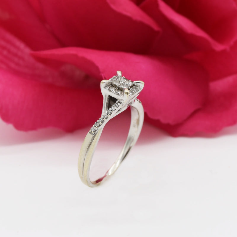 10k White Gold Estate Filigree Diamond Engagement Ring Size 9.75