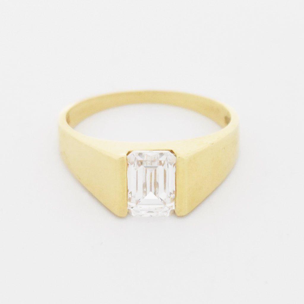 14k Yellow Gold Estate Diamonique CZ Engagement Ring Size 6