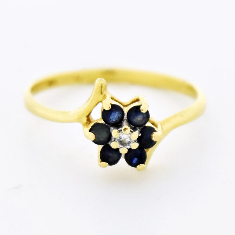 14k Yellow Gold Estate Sapphire & Diamond Flower Ring Size 8