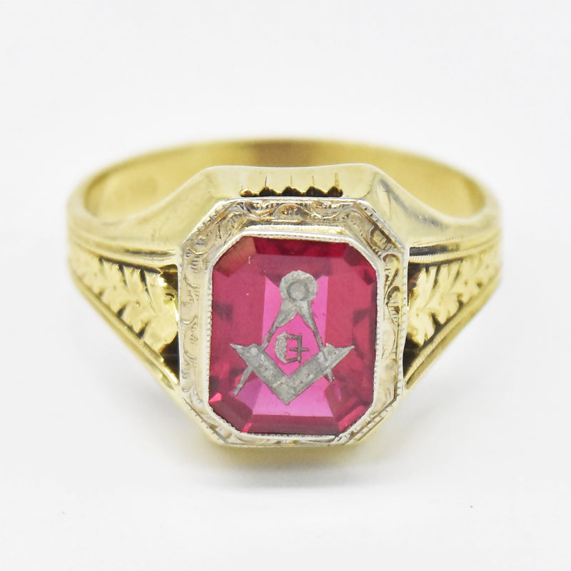 10k Yellow Gold Antique Leaf Design Ruby Masonic Ring Size 11
