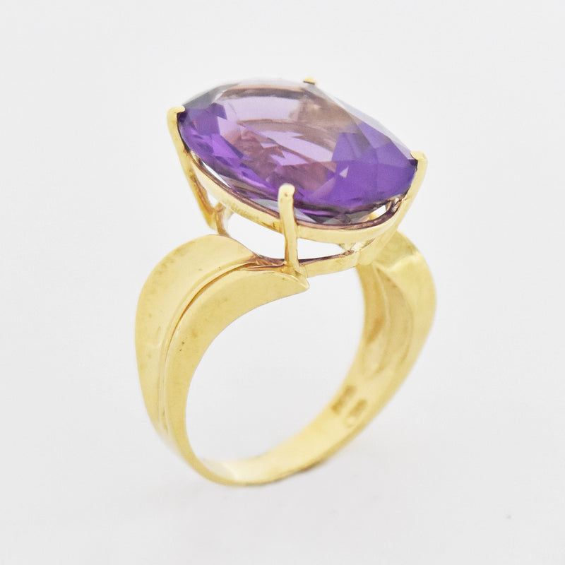 14k Yellow Gold Estate Oval Amethyst Swirl Design Ring Size 7