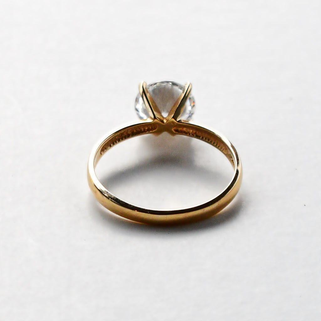 14k Yellow Gold Estate CZ/Cubic Zirconia Gemstone Engagement Ring Sz 6