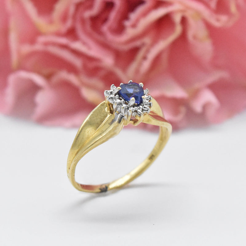 10k Yellow Gold Estate Sapphire Heart & Diamond Ring Size 5