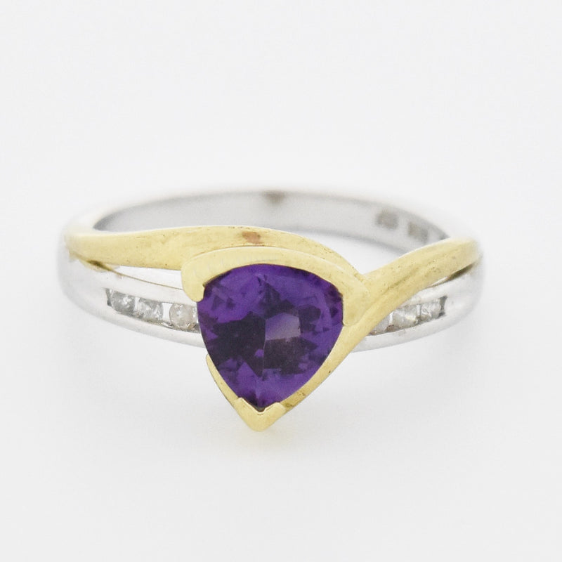 10k Yellow & White Gold Estate Amethyst & Diamond Ring Size 7.25
