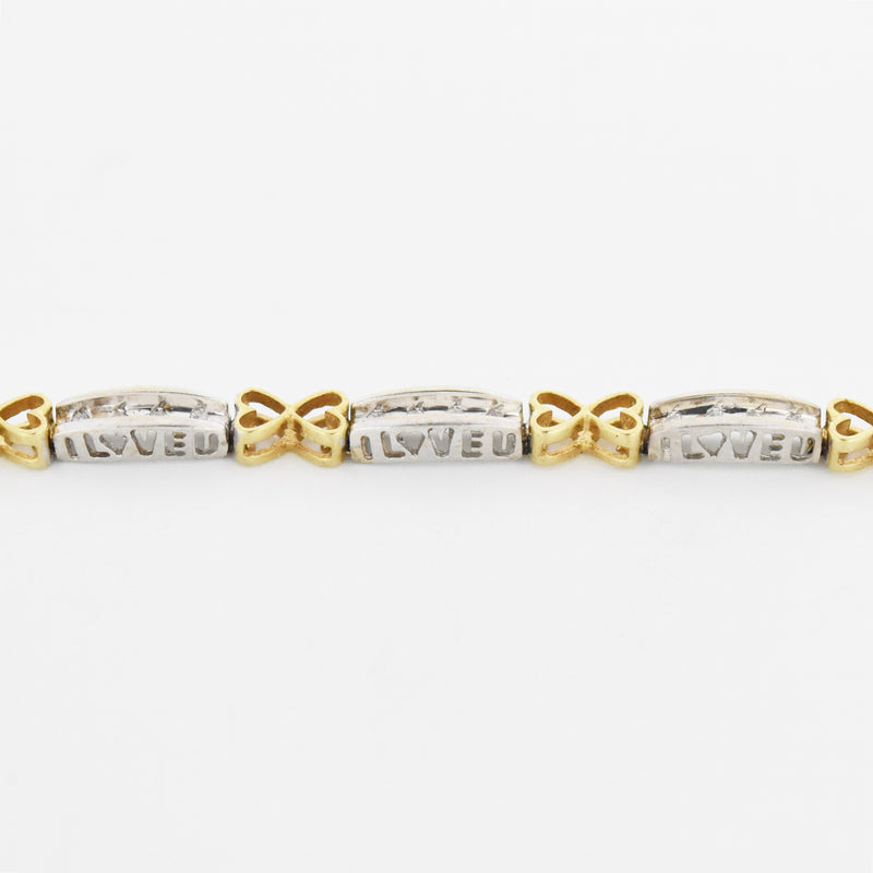 "10k Yellow & White Gold Double Heart Link Diamond 7.25"" Bracelet"