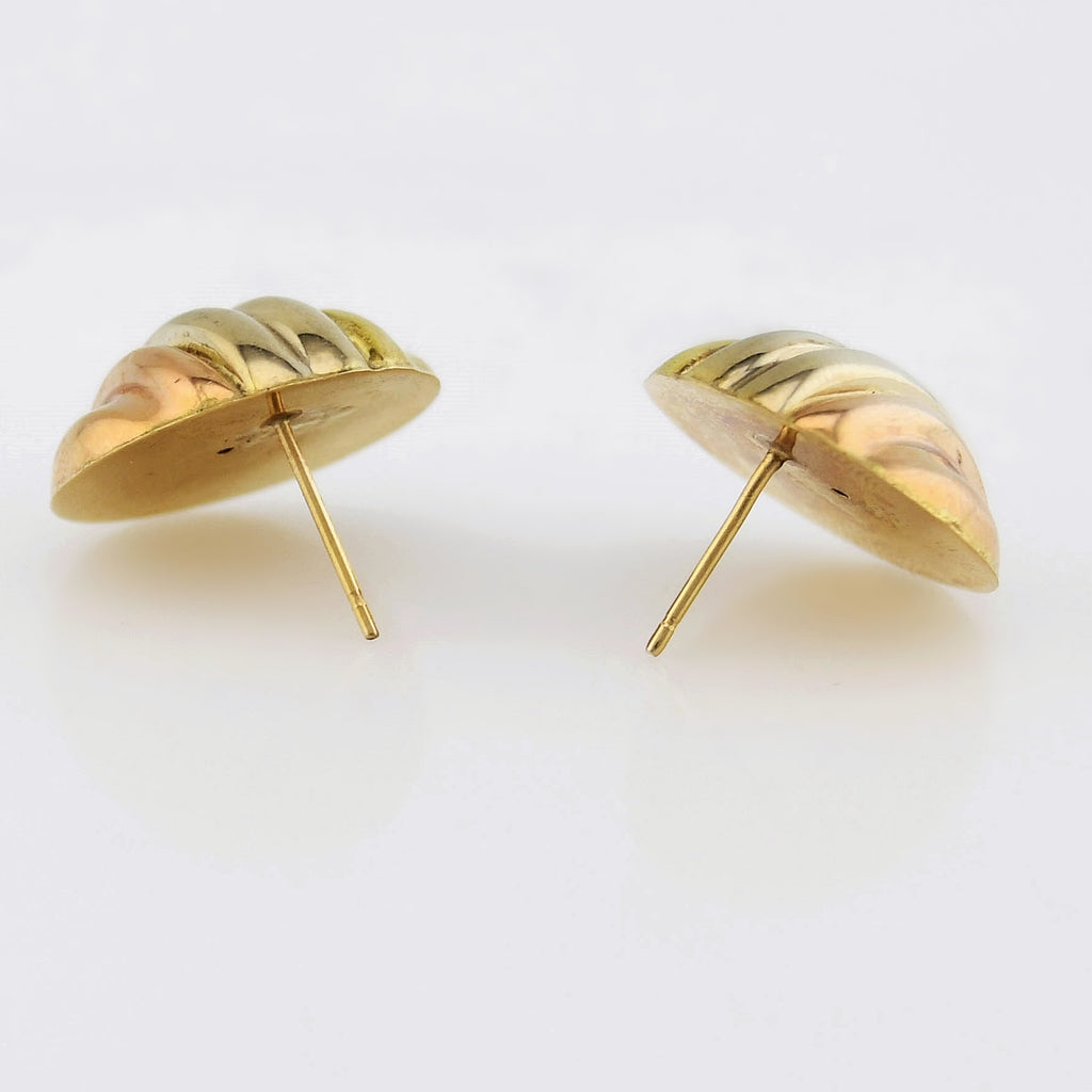 14k Tri/Multi Color Gold Estate Swirl Dome Post Earrings