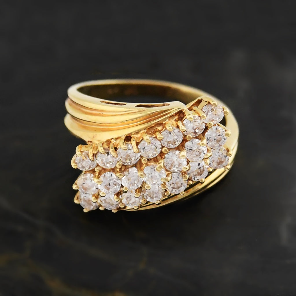 14k Yellow Gold Estate 3 Row CZ Wrap Cocktail Ring Size 8