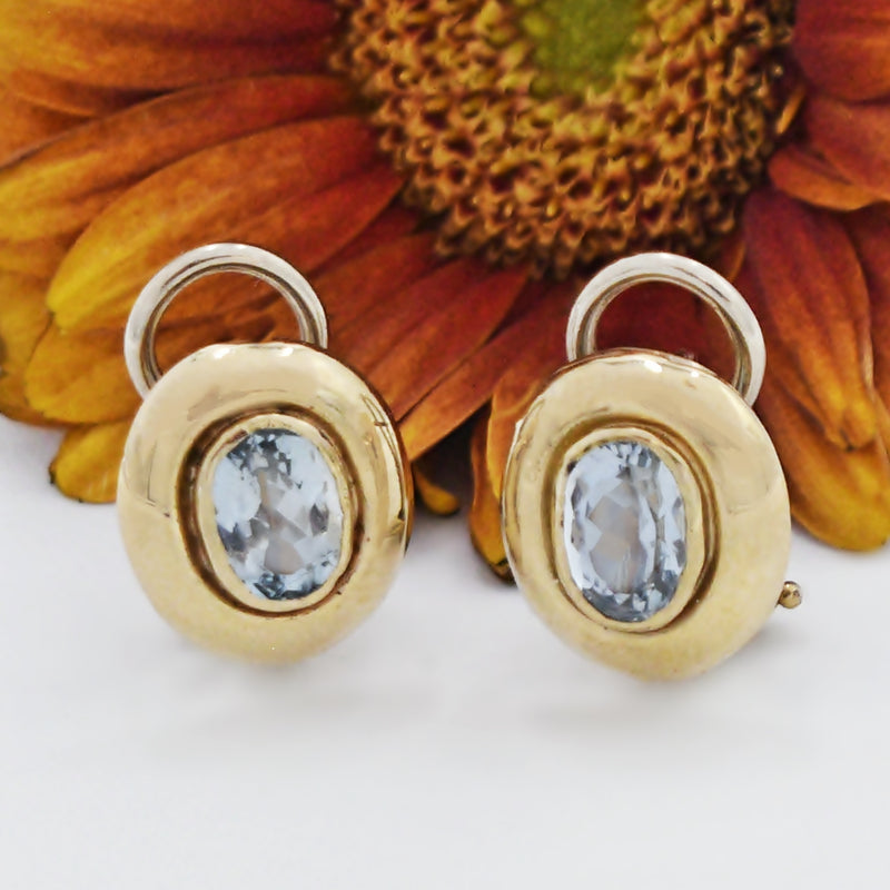 14k Yellow Gold Estate Light Blue Oval Topaz Omega Back Earrings