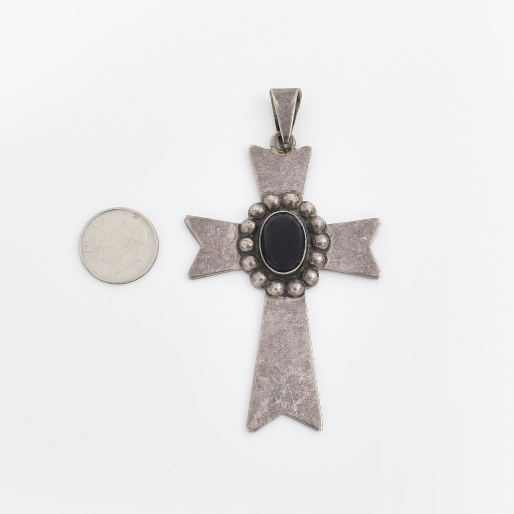 Sterling Silver 925 Mexican Textured Black Onyx Cross Pendant