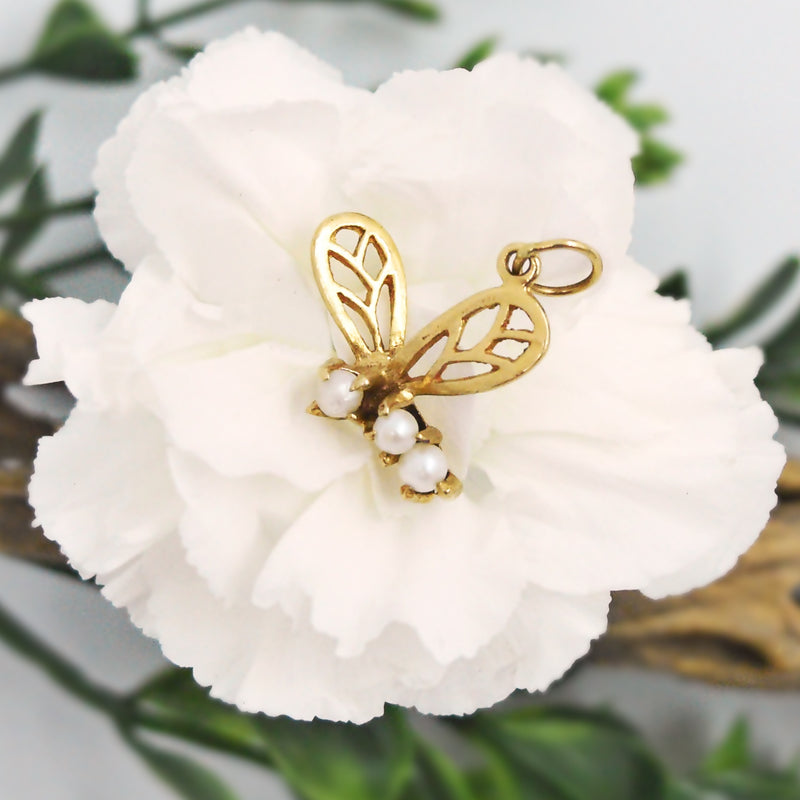 14k Yellow Gold Estate Open Work 3 Pearl Bee Pendant