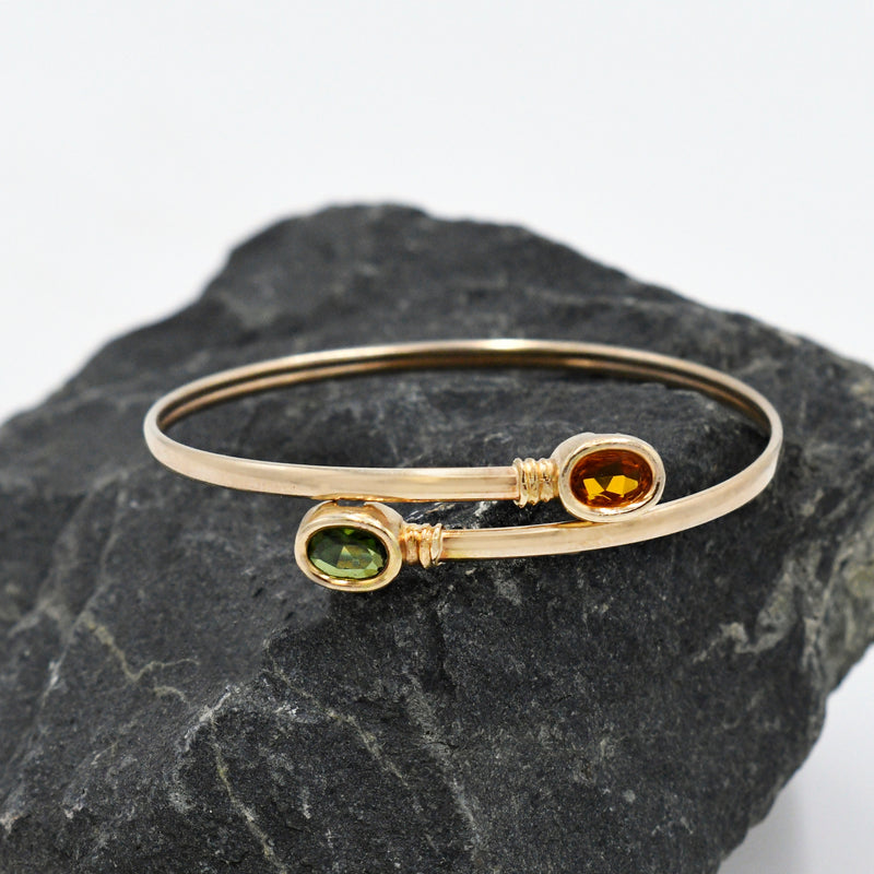 14k Yellow Gold Estate Orange Sapphire & Peridot Wrap Bracelet
