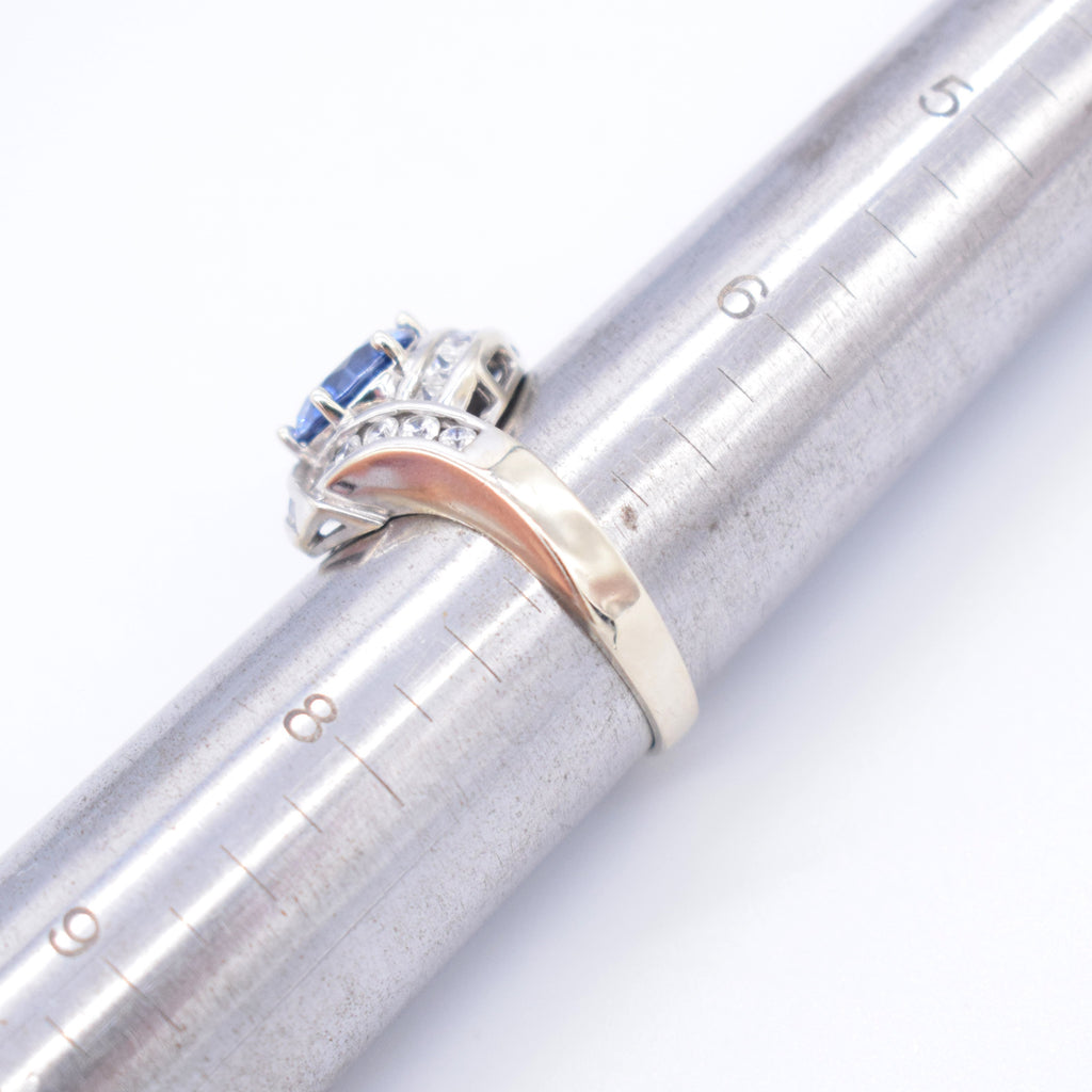14k White Gold Estate Fancy Blue Iolite & CZ Cocktail Ring Size 7