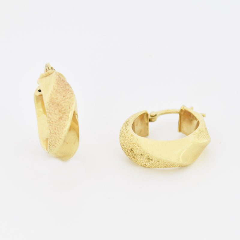 "14k Yellow Gold Estate 3/4"" Swirl Textured Hoop Earrings"