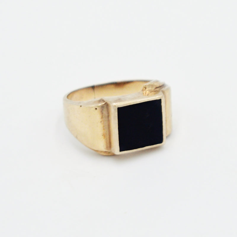 10k Yellow Gold Antique Black Onyx Gemstone Statement Ring Size 10