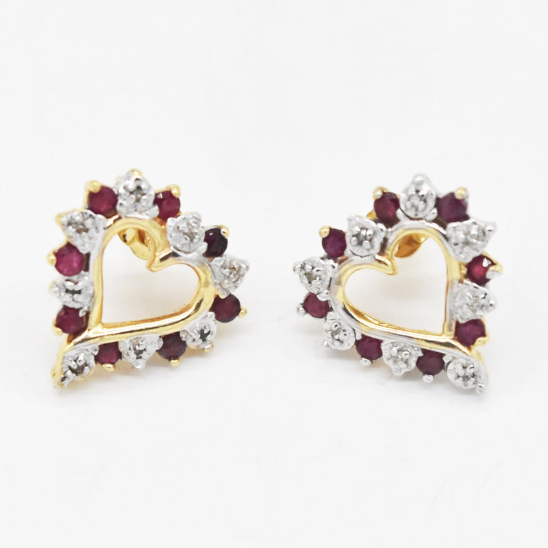 14k Yellow Gold Estate Open Diamond & Ruby Heart Love Post Earrings