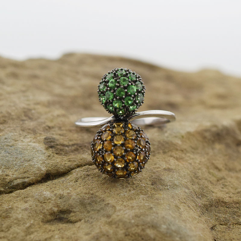 14k White Gold Emerald & Citrine Double Ball Ring Size 7.25