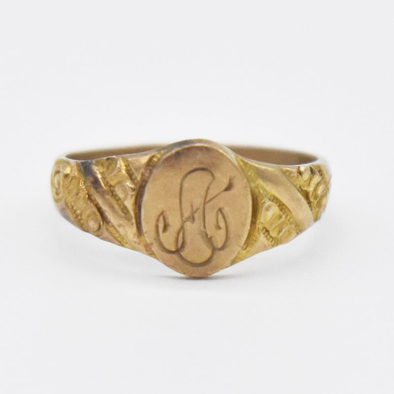 10k Yellow Gold Antique Initial/Letter A Infant/Child Ring Size 1/4