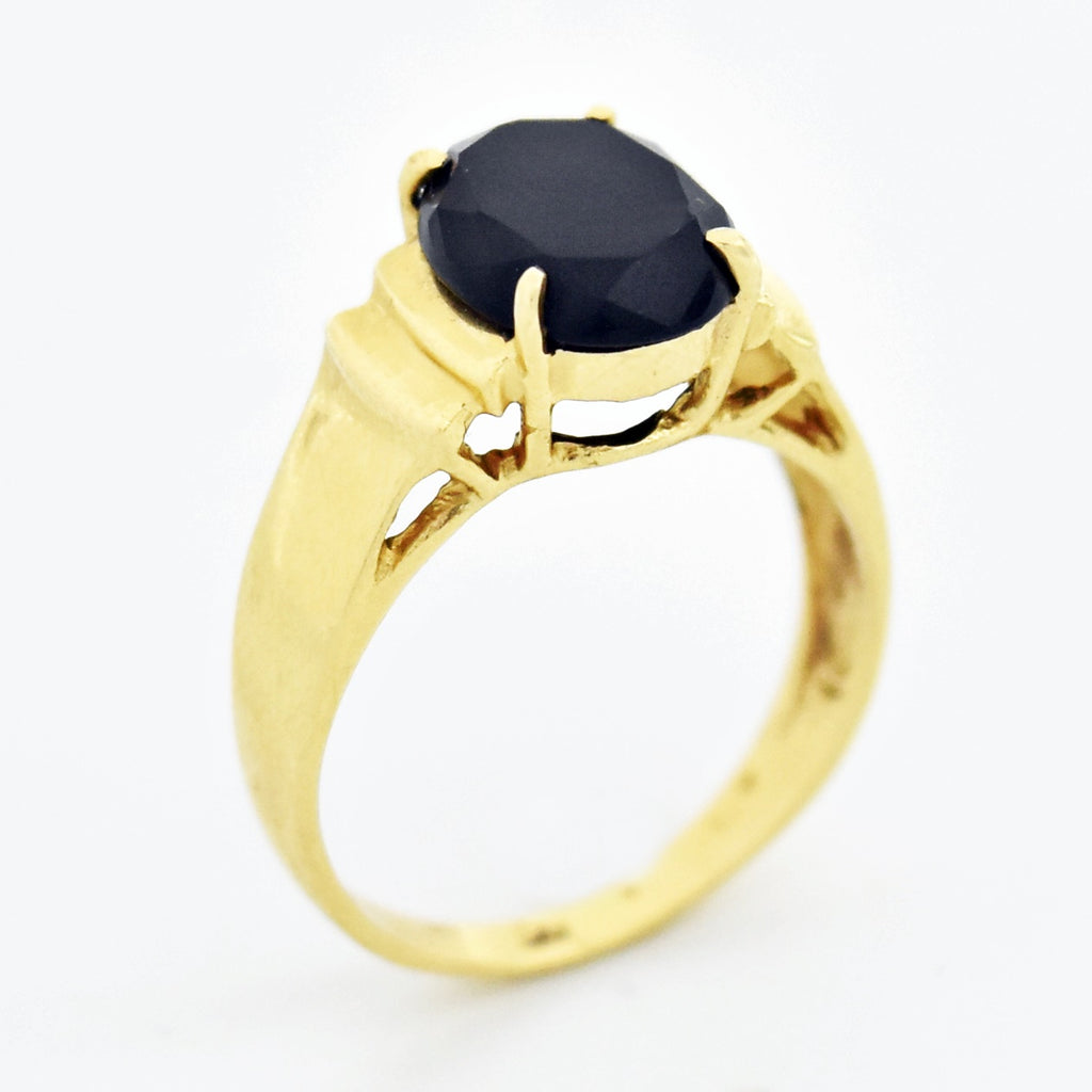 14k Yellow Gold Estate Oval Black Onyx Ring Size 7