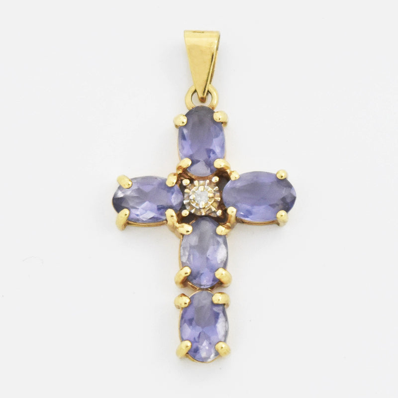 14k Yellow Gold Estate Tanzanite & Diamond Cross Pendant