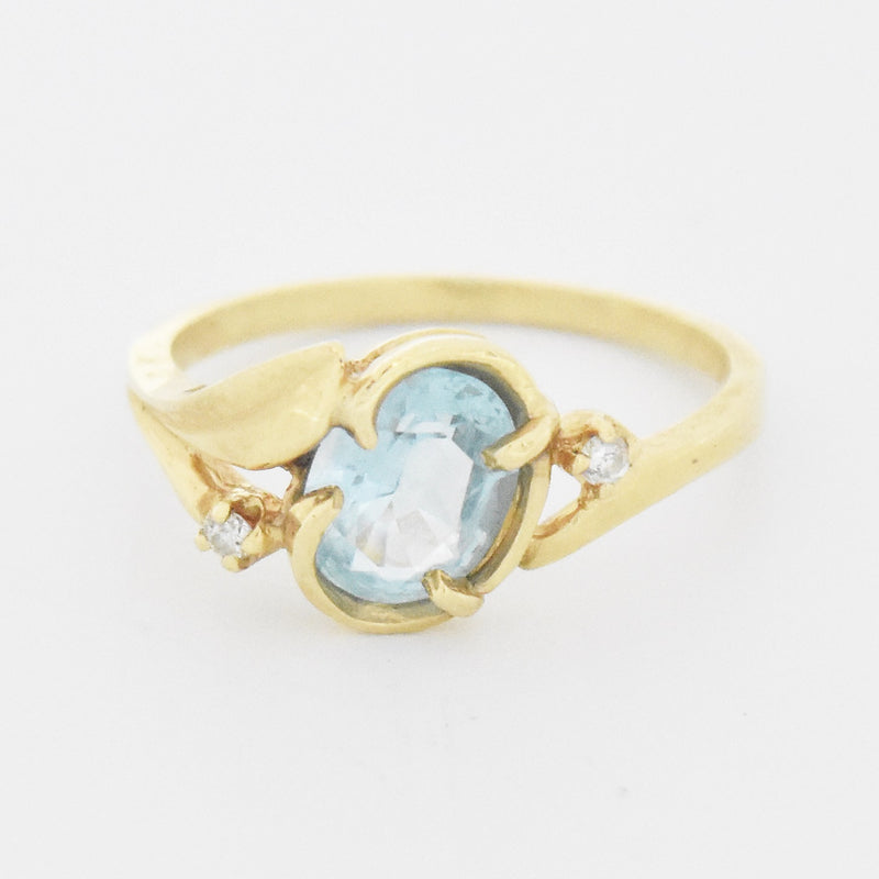 14k Yellow Gold Estate Blue Topaz & Diamond Ring Size 6.75