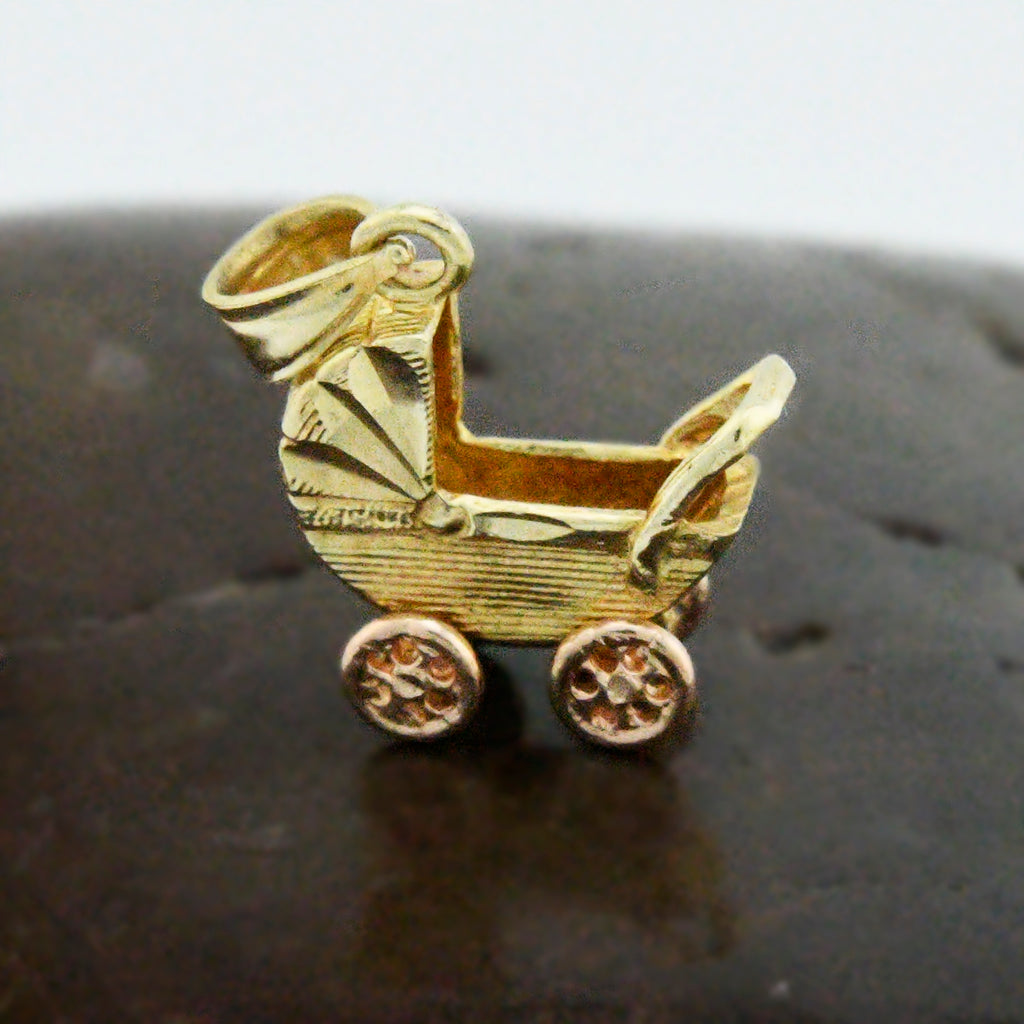 14k Yellow Gold Baby Carriage With Movable/Articulated Wheels Pendant