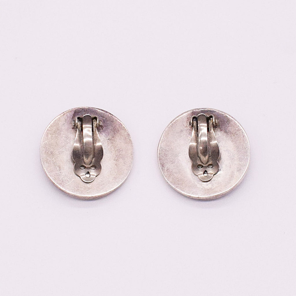 Sterling Silver 925 Circle Clip-On Earrings