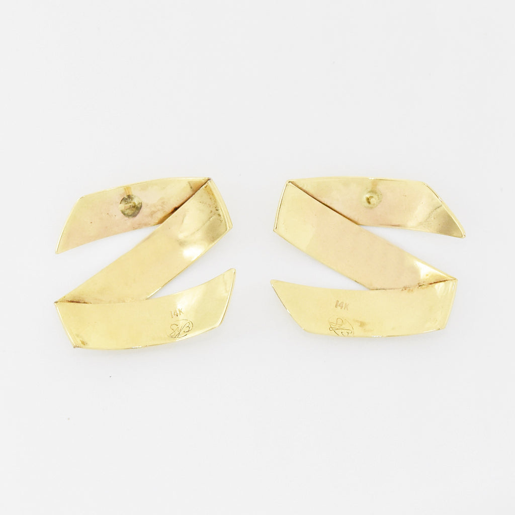 14k Yellow Gold Estate Zig Zag Post Earrings
