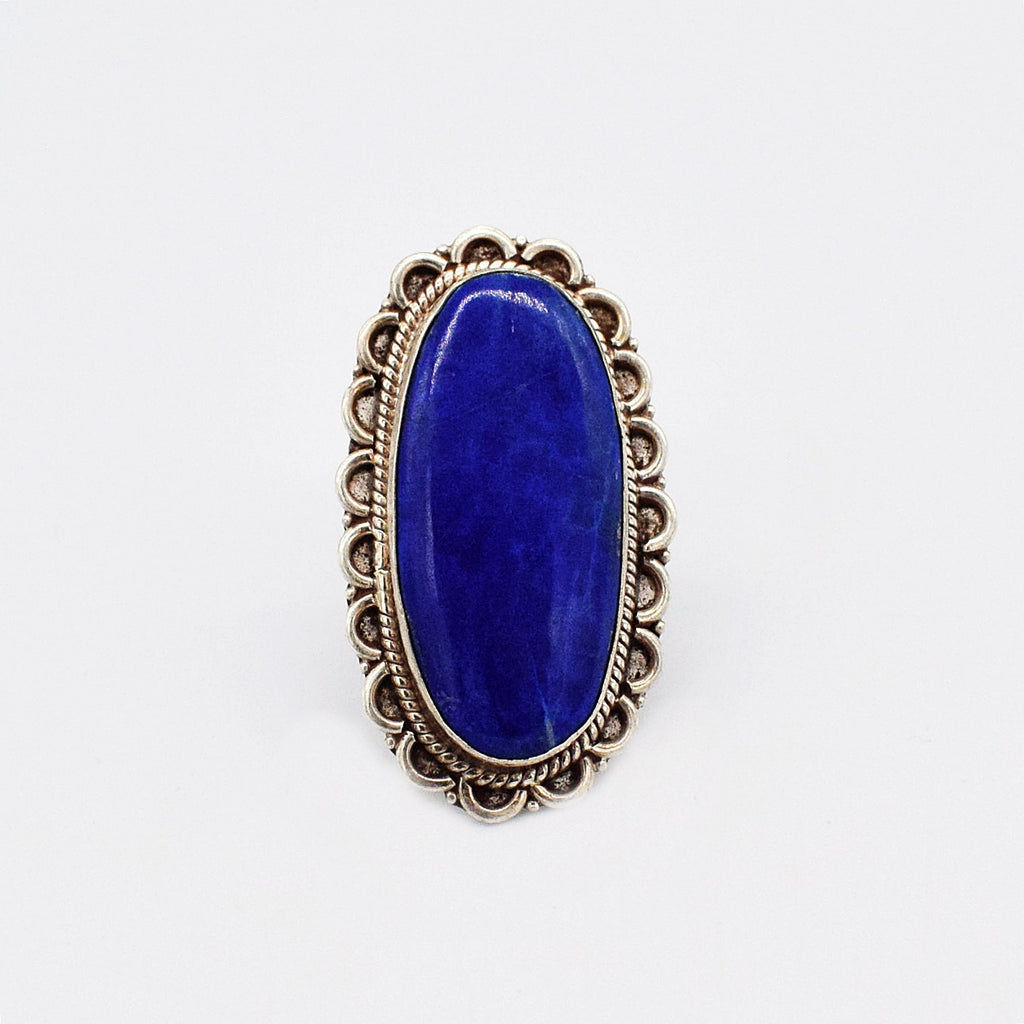 Sterling Silver 925 Vintage Large Carved Oval Lapis Ring Size 6