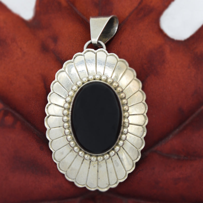 Sterling Silver 925 JAMES Flower Design Black Onyx Pendant