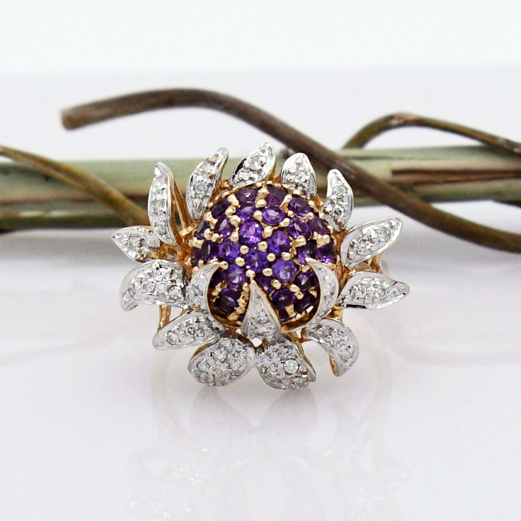 14k Yellow Gold Designer Andy G Amethyst & Diamond .50 tcw Ring Size 7