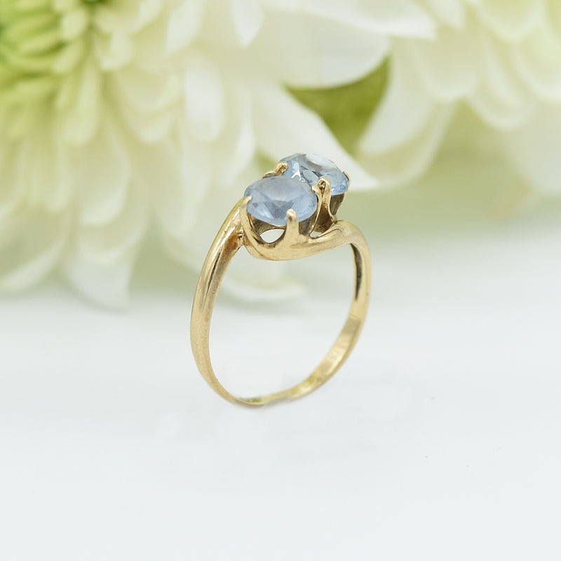 10k Yellow Gold Vintage Swirl Double Blue Topaz Ring Size 5