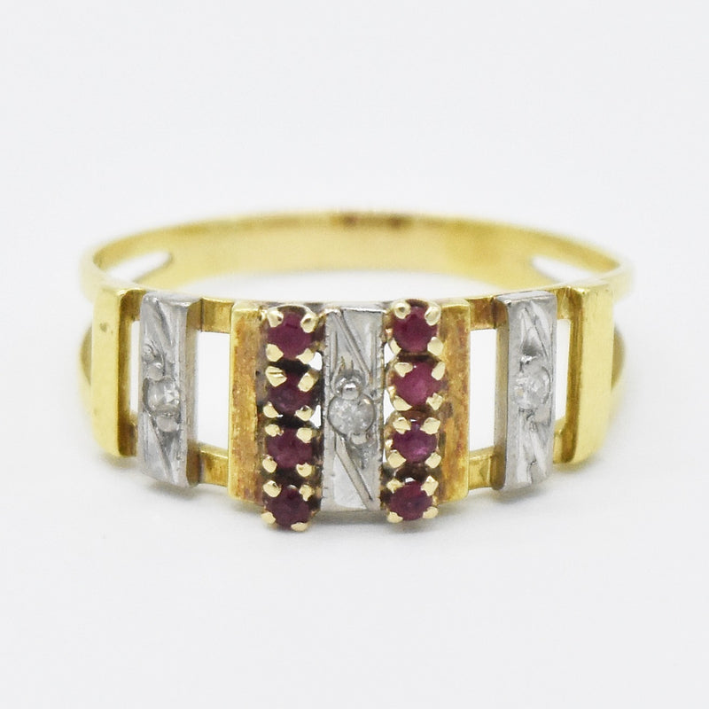 10k Tri Colored Gold Open Work Ruby & Diamond Band/Ring Size 7.25