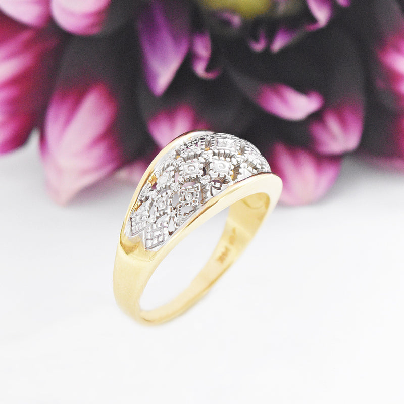 14k Yellow & White Gold Estate Filigree Wide Band/Ring Size 10.5