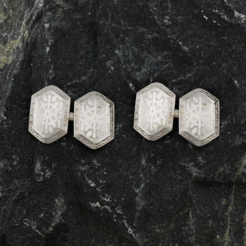 10k White Gold Antique Ornate Cufflinks