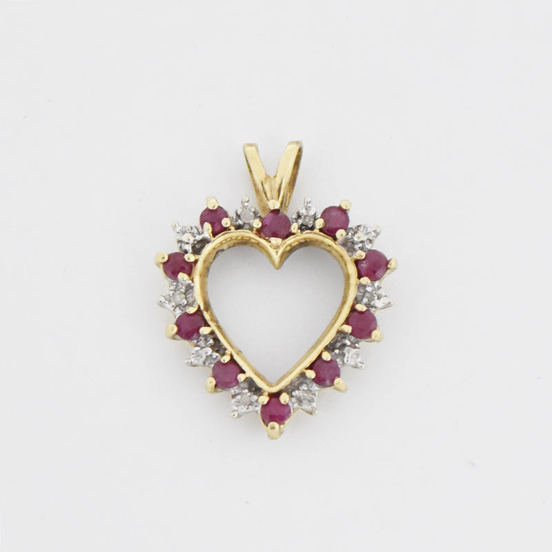 10k Yellow Gold Estate Ruby & Diamond Open Heart Pendant