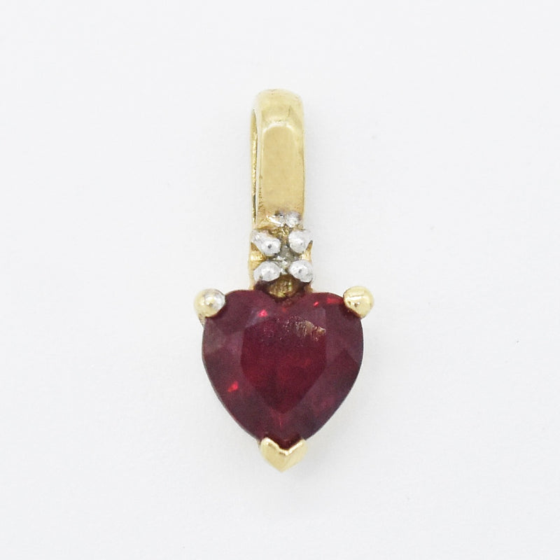 10k Yellow Gold Estate Ruby & Diamond Heart Love Pendant