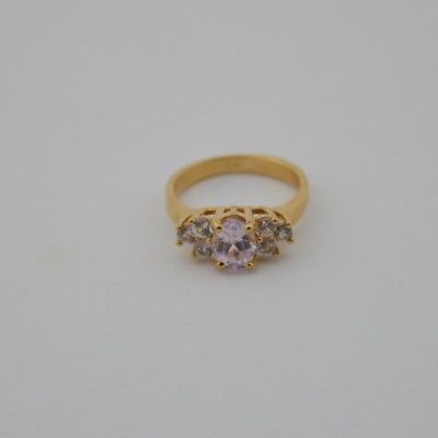 14k Yellow Gold Estate Light Amethyst & White Topaz Ring Size 8