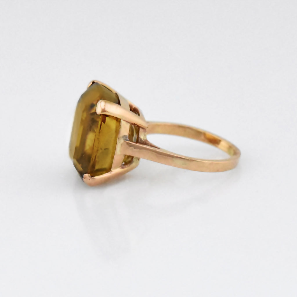 10k Yellow Gold Estate Large Yellow Gemstone Solitaire Ring Size 6.75