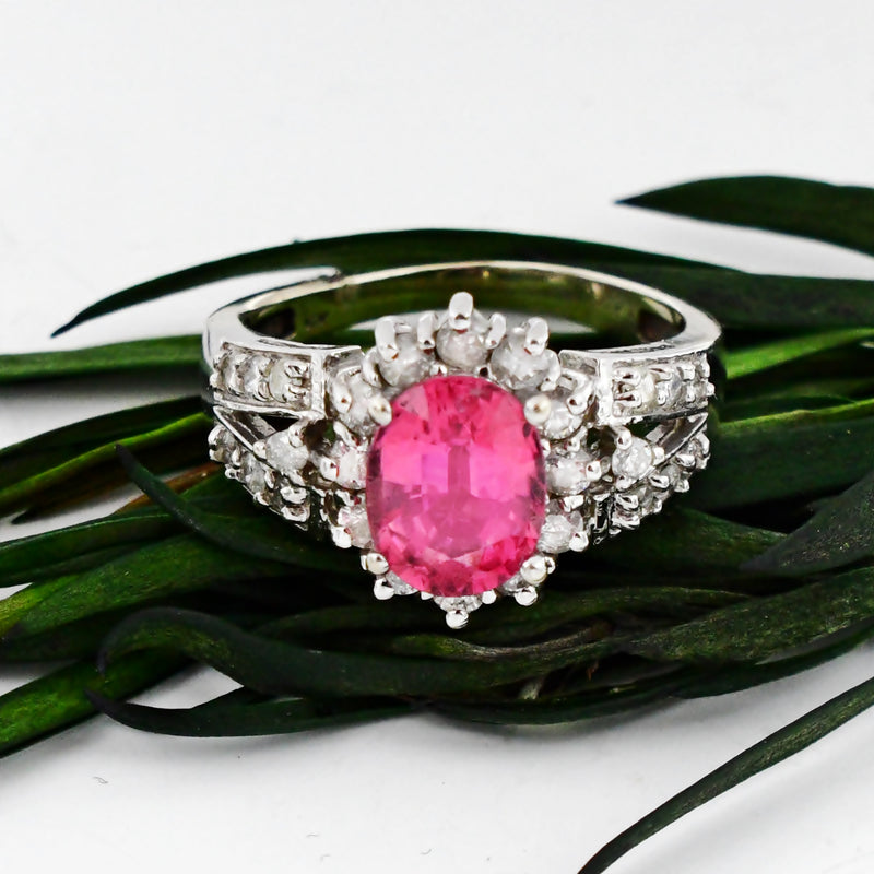 14k White Gold Estate Rubellite & Diamond Gemstone Ring Size 9.25