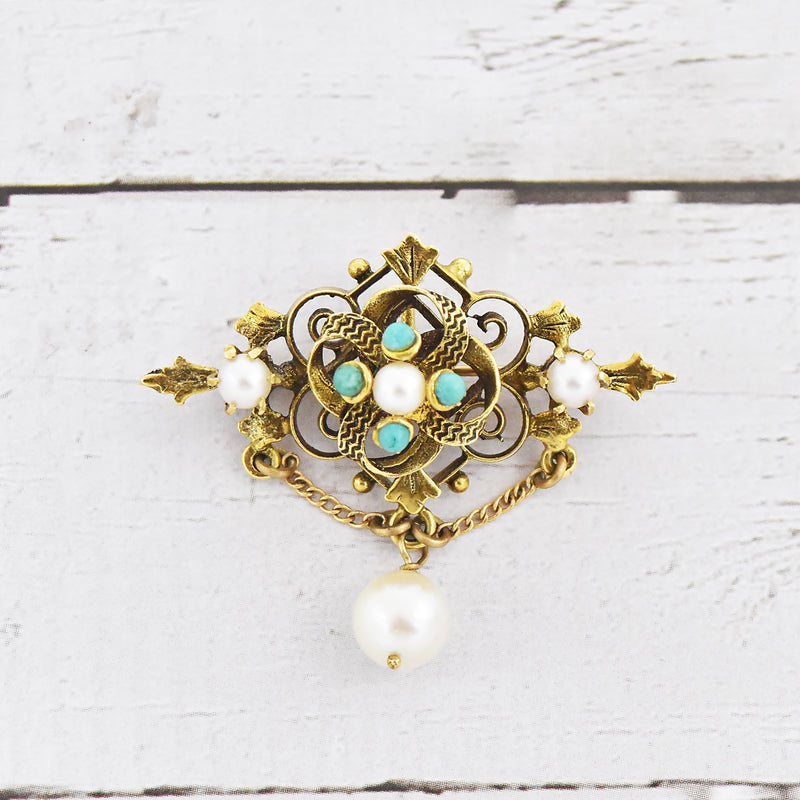 14k Yellow Gold Antique Ornate Carved Turquoise & Pearl Pin/Pendant
