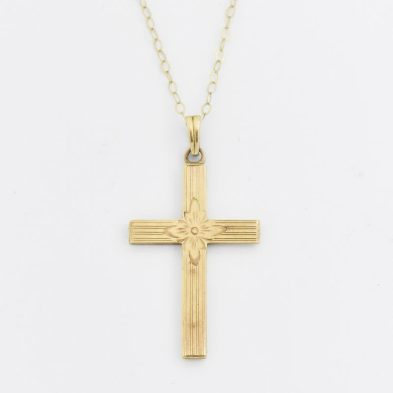 "10k Yellow Gold Estate 17.75"" Rolo Link Cross Necklace"